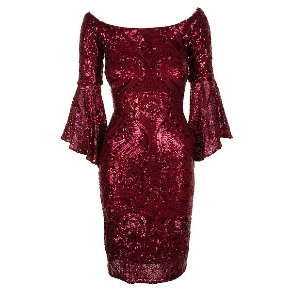 c1e444f432 Betsy Adam Plus Size Burgundy Sequined Bell-Sleeve Off-The-Shoulder Sheath  Dress