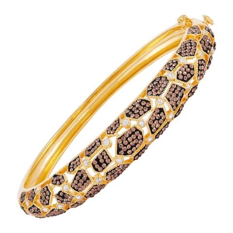 "Giraffe Bracelet With Brown & White Swarovski Crystals in Gold-Plated Bronze, 7.5"""