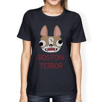 Boston Terror Terrier Womens Halloween Shirt Navy Cotton Crewneck