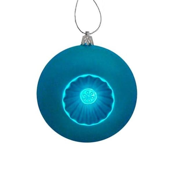 "6ct Matte Blue Retro Reflector Shatterproof Christmas Ball Ornaments 4"""