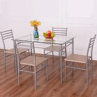 Costway 5 Piece Dining Set Table And 4 Chairs Glass Top Kitchen Breakfast Furniture - as pic