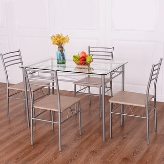 Costway 5 Piece Dining Set Table And 4 Chairs Glass Top Kitchen Breakfast Furniture