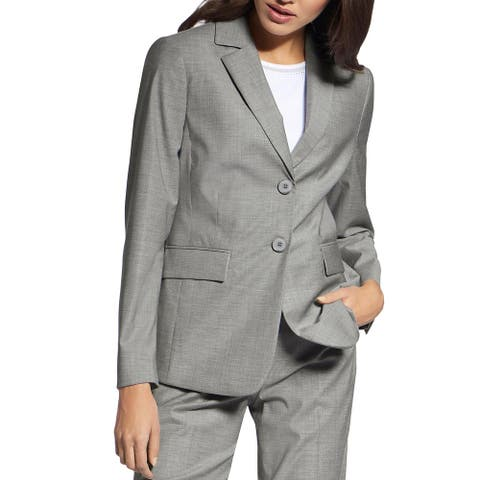 Basler Womens Two-Button Blazer Virgin Wool Mid-Length - Silver Lining