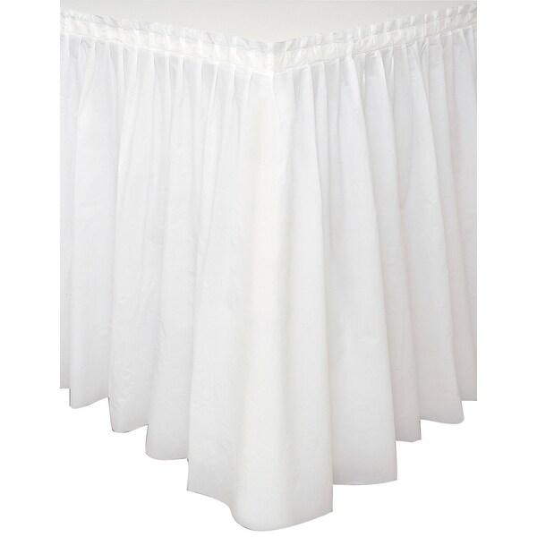 """Plastic Tableskirt 14'X29""""-White - White"""