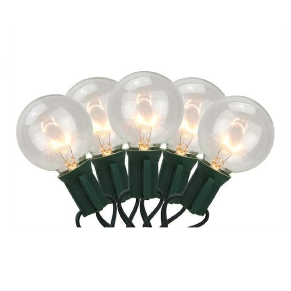 Set of 20 Warm White G40 Globe Christmas Lights - Green Wire