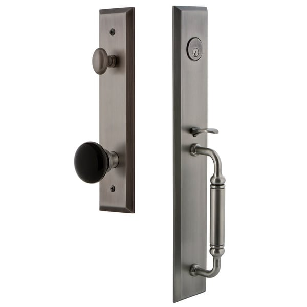 Grandeur FAVCGRCOV_ESET_238 Fifth Avenue Solid Brass Rose Keyed Entry Single Cylinder Full Plate 'C' Grip Handleset with