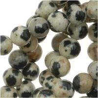 Spotted Dalmation Jasper 4-4.5mm Round Beads 15.5 Inch Strand / Cream Brown
