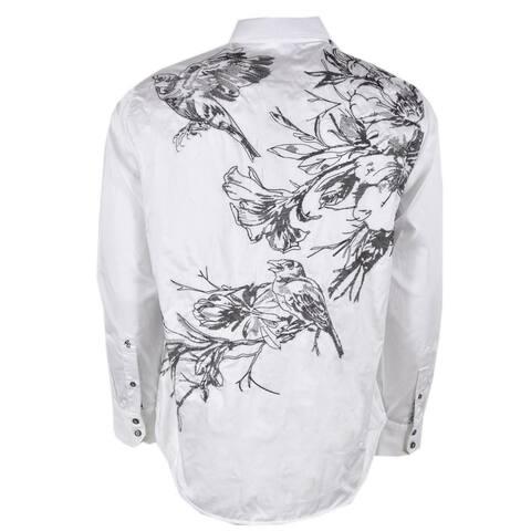 Robert Graham MEMENTO White Black Floral Embroidered Sports Shirt 2XL