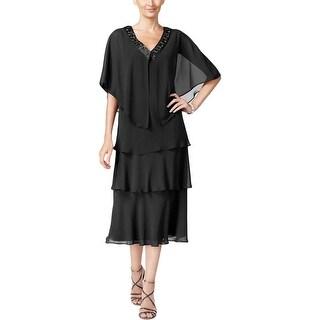 SLNY Womens Missy Dress With Cardigan 2PCS Embellished