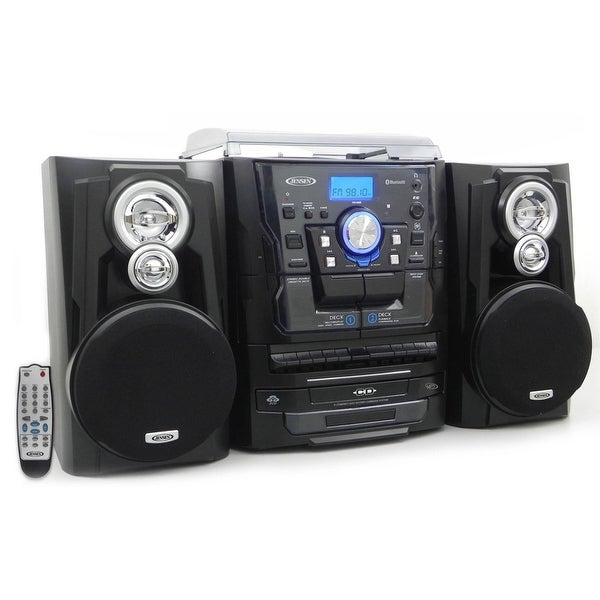 Jensen JMC1250 Bluetooth 3-Speed Stereo Turntable and 3 CD Changer with Dual Cassette Deck - Multicolor