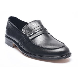 Bruno Magli Men's Leather Wood Loafers Shoes Black