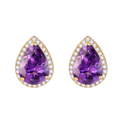 Gold Over Sterling Silver with Amethyst and White Zircon Stud Earring