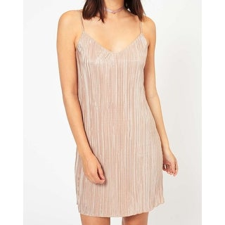 Miss Selfridge NEW Gold Womens Size 10 Shimmer Plisse V-Neck Slip Dress