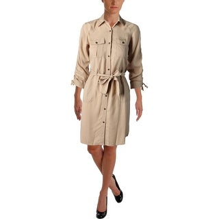 Lauren Ralph Lauren Womens Petites Shirtdress Twill Button Down