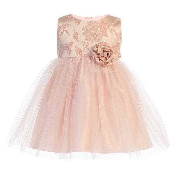 Baby Girls Blush Floral Jacquard Crystal Tulle Easter Dress
