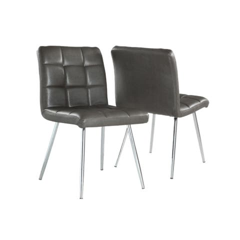 """Offex 2 Piece Contemporary Dining Chair 32""""H - Grey Leather Look - Chrome"""