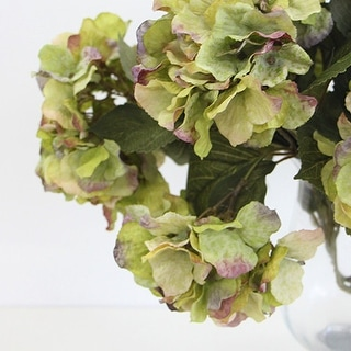 "G Home Collection Luxury Silk 5 Hydrangea Bloom Bush in Green 21"" Tall"