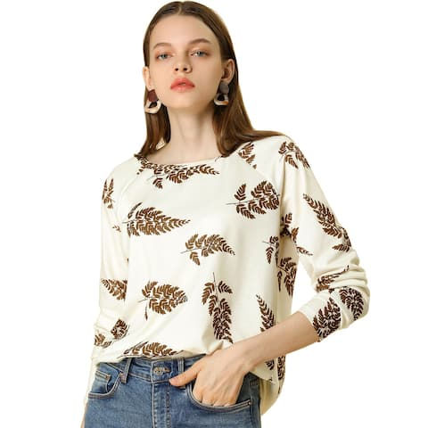 Women's Leaf Print Raglan Long Sleeve Round Neck Loose Tunic Top Blouse - Cream White