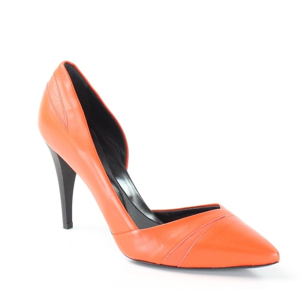 McQ NEW Orange Tangerine Shoes Size 7M Classics Leather Heels