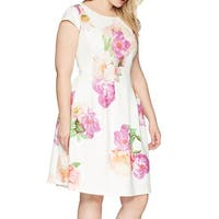 Calvin Klein White Womens Size 20W Plus Floral  A-Line Dress