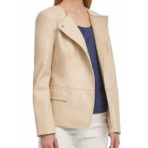DKNY Women's Beige Size Small S Collarless Faux Leather Snap Jacket