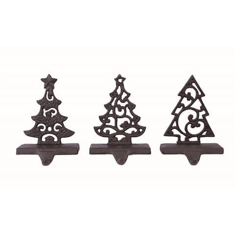 Transpac Metal Black Christmas Tree Stocking Holder Set of 3