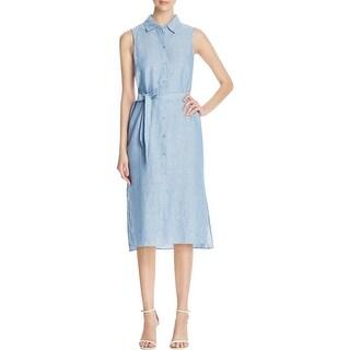 Sanctuary Womens Everly Shirtdress Linen Blend Sleeveless