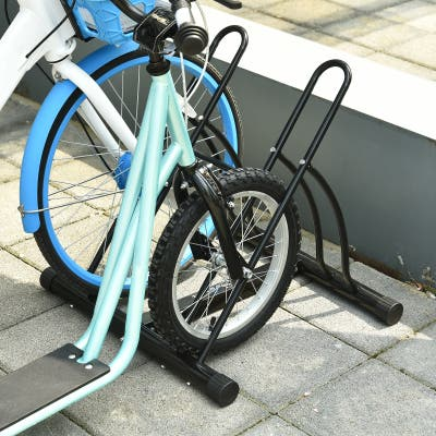 Soozier 2-Bike Floor Stand Storage Parking Rack with Stable & Strong Steel Frame, Double Sided Design, & All-Around Use