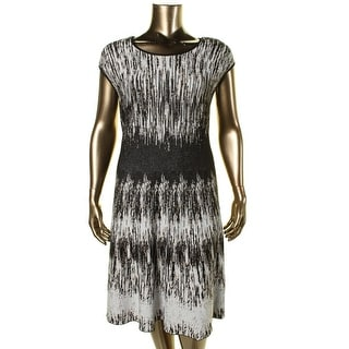 Nic + Zoe Womens Plus Pattern Cable Knit Casual Dress - 1X