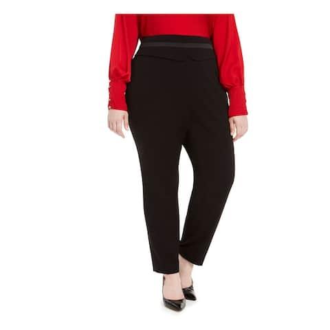 CALVIN KLEIN Womens Black Zippered Wear To Work Pants Size 22W