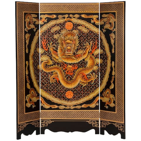 6 ft. Tall Black Lacquer Room Divider - Dragon