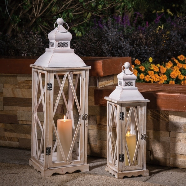 Glitzhome Farmhouse Wooden Metal Lantern Set of Two