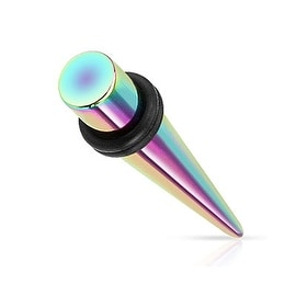 Rainbow Titanium IP Over 316L Surgical Steel Taper with O-Rings (Sold Individually)
