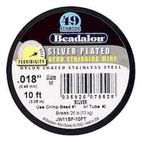 Beadalon Wire Silver Plated 49 Strand .018 Inch / 10Ft