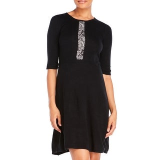 Betsey Johnson Elbow Sleeve Sweater Dress with Lace Detail Black Medium