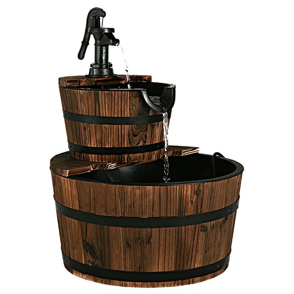 Costway 2 Tier Barrel Waterfall Fountain Barrel Wooden Water Fountain Pump Outdoor Garde - as pic