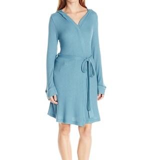 Splendid NEW Blue Women's Size Medium M Waffle-Knit Hooded Solid Robes