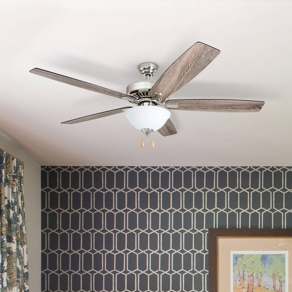 Porch & Den Joy Brushed Nickel 60-inch LED Reversible Blade Ceiling Fan w/ Pull-chains - 60. Opens flyout.