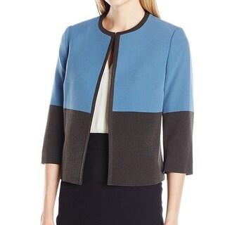 Kasper NEW Gray Frost Women's Size 12 Colorblock Open Front Jacket