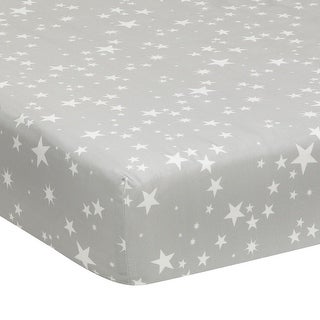 Lambs & Ivy Gray Milky Way Fitted 100% Cotton Star Crib Sheet