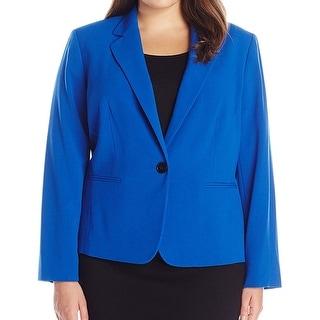 Nine West NEW Blue Women's 20W Plus Notch Collar One Button Blazer