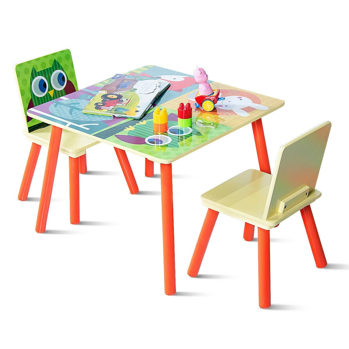 Gymax Kids Table And 2 Chairs Set