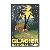 Glacier National Park MT Cabin Scene - LP Artwork (Acrylic Wall Clock) - acrylic wall clock