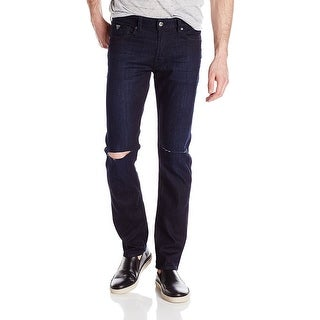 Guess NEW Blue Mens Size 38X33 Slim Fit Straight Leg Knee-Slit Jeans