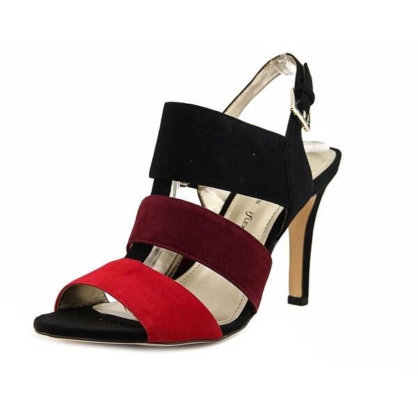 Anne Klein AK Ronnia Women Open Toe Suede Black Sandals