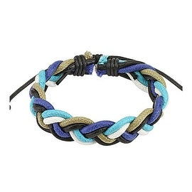 Blue Toned Multi-color Double Braided Leather Bracelet with Drawstrings (10 mm) - 7.5 in