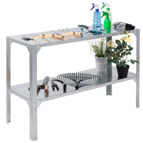 Costway Galvanized Steel Workbench Greenhouse Prepare Work Potting Table Storage Shelves