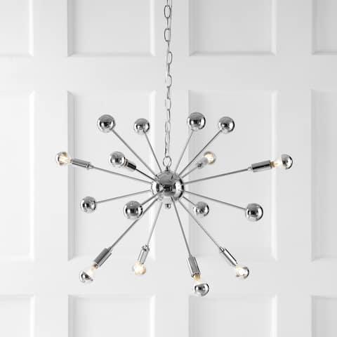 "Glenn 8-Light 22.5"" Metal Sputnik-Style LED Chandelier, Chrome by JONATHAN Y"