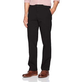 Dockers Mens Pants Solid Black Size 42x32 Straight Fit Khakis Stretch