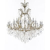 Swarovski Crystal Trimmed Chandelier Lighting Chandeliers Dressed with Large, Luxe Crystals - Gold